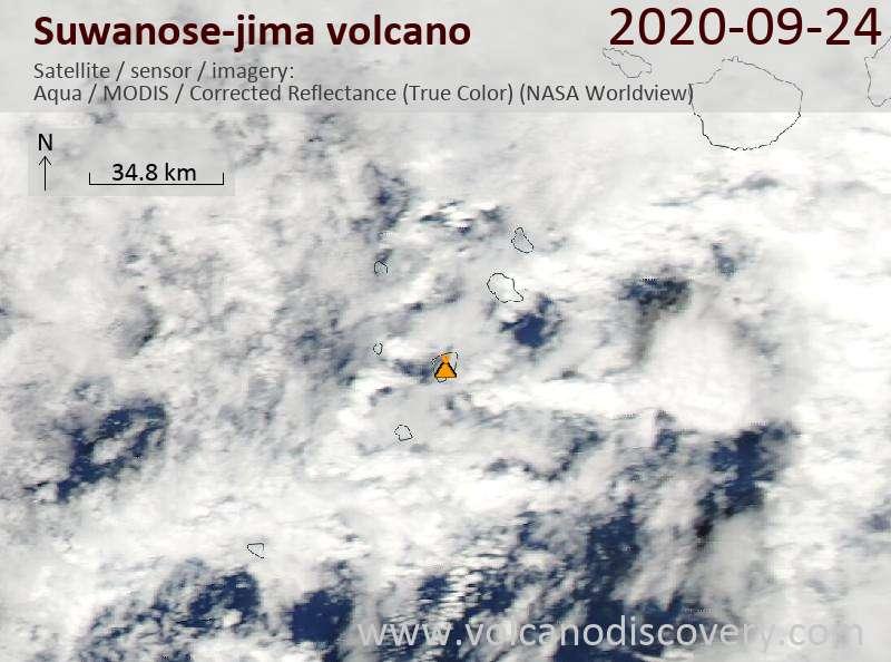 Satellite image of Suwanose-jima volcano on 25 Sep 2020