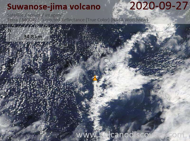Satellite image of Suwanose-jima volcano on 27 Sep 2020