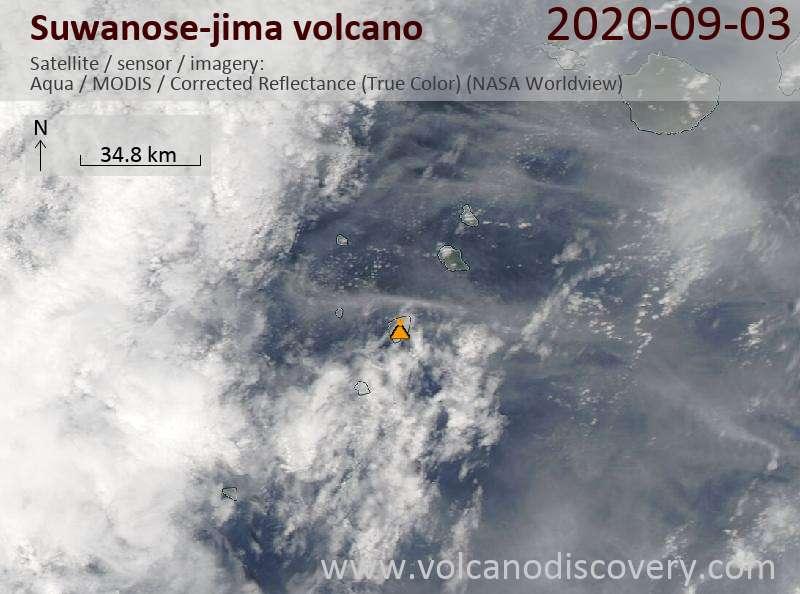 Спутниковое изображение вулкана Suwanose-jima  3 Sep 2020