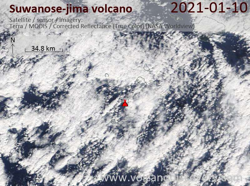 Satellitenbild des Suwanose-jima Vulkans am 10 Jan 2021