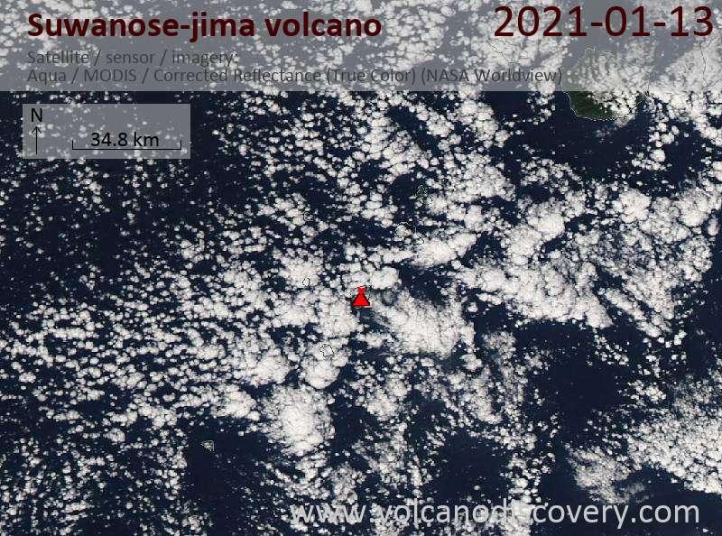 Satellite image of Suwanose-jima volcano on 13 Jan 2021