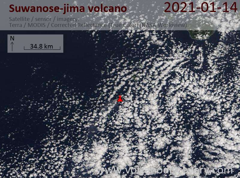Satellite image of Suwanose-jima volcano on 14 Jan 2021