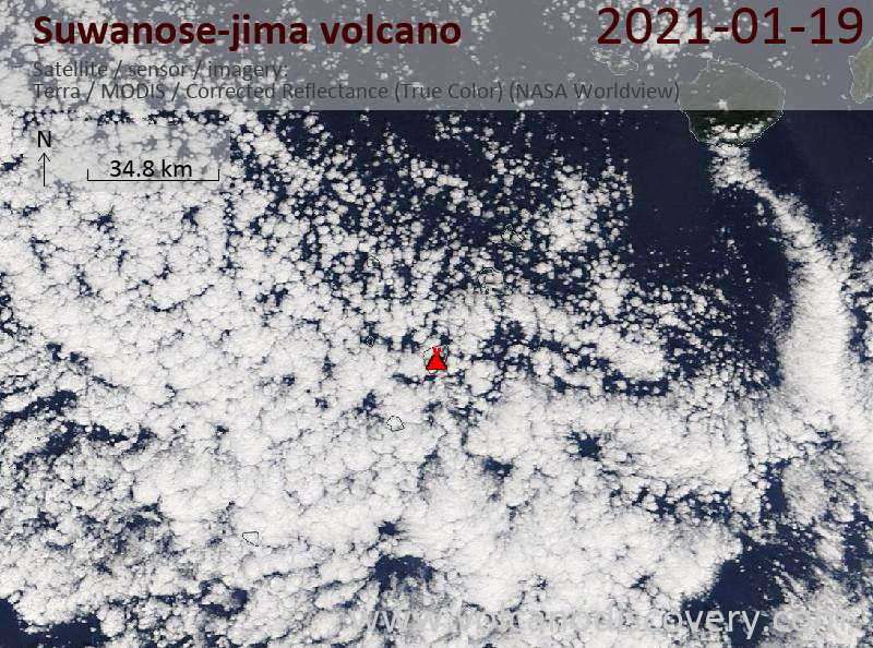 Satellite image of Suwanose-jima volcano on 19 Jan 2021