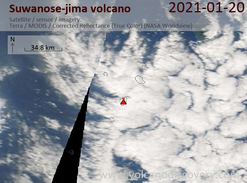 Satellite image of Suwanose-jima volcano on 20 Jan 2021