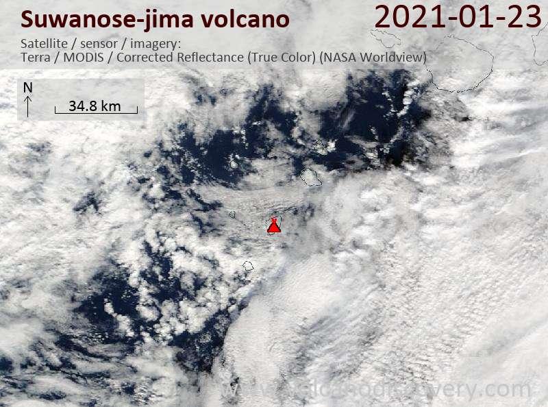 Satellite image of Suwanose-jima volcano on 23 Jan 2021