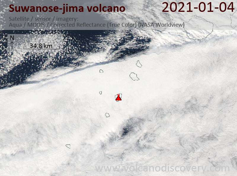 Satellite image of Suwanose-jima volcano on  4 Jan 2021