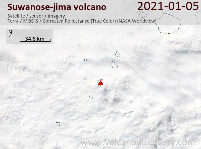 Satellite image of Suwanose-jima volcano on  5 Jan 2021