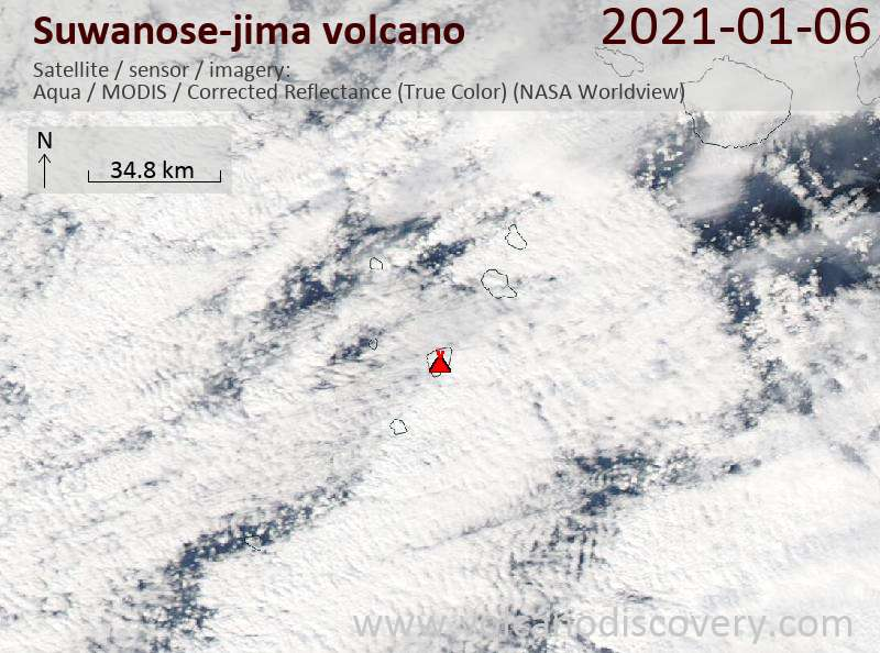 Satellite image of Suwanose-jima volcano on  6 Jan 2021