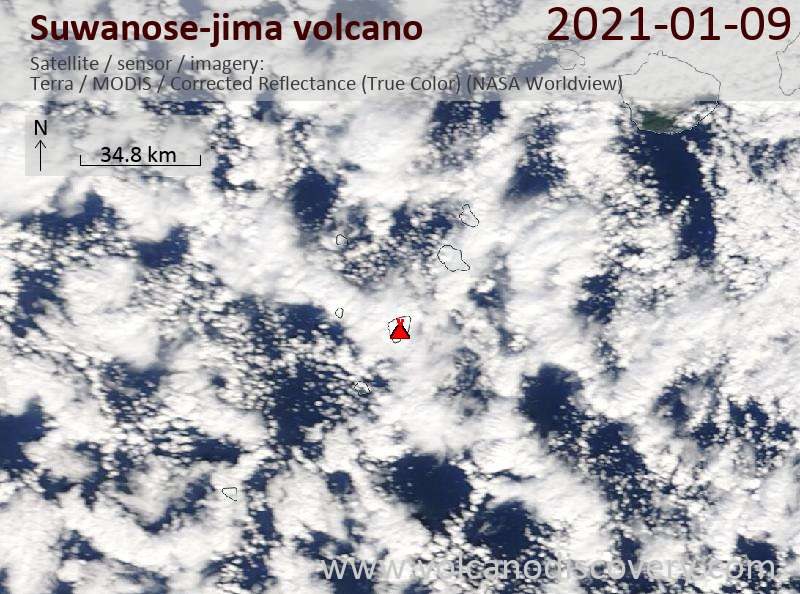Satellitenbild des Suwanose-jima Vulkans am  9 Jan 2021