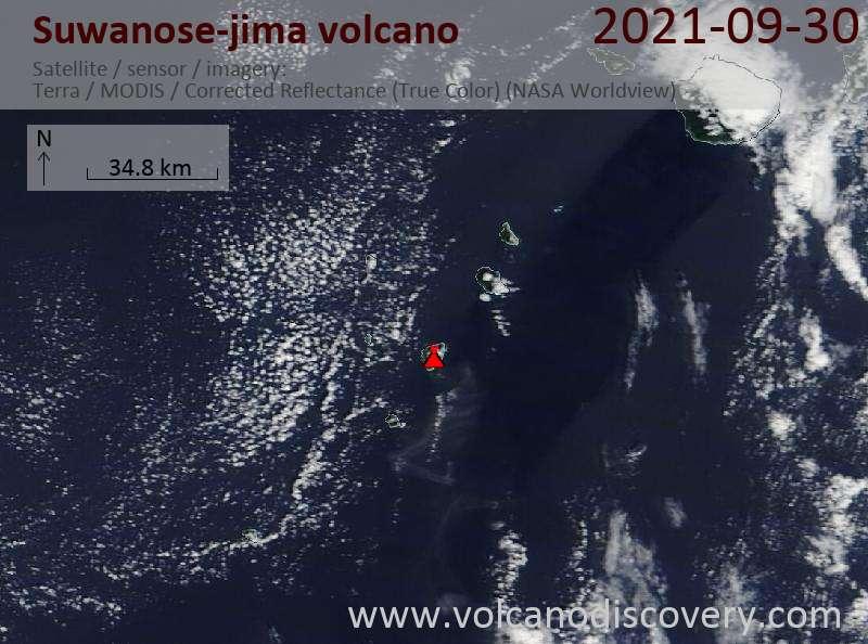 Satellite image of Suwanose-jima volcano on  1 Oct 2021