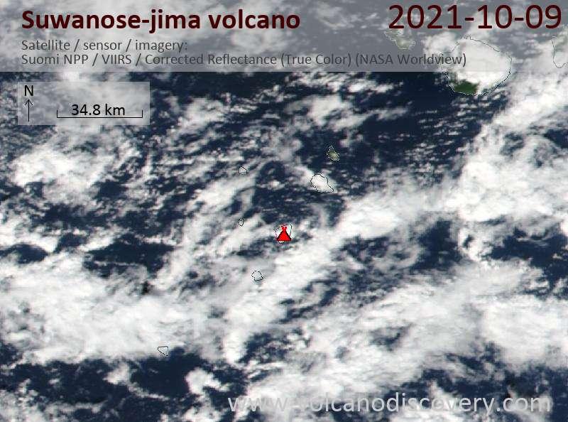 Satellite image of Suwanose-jima volcano on 10 Oct 2021
