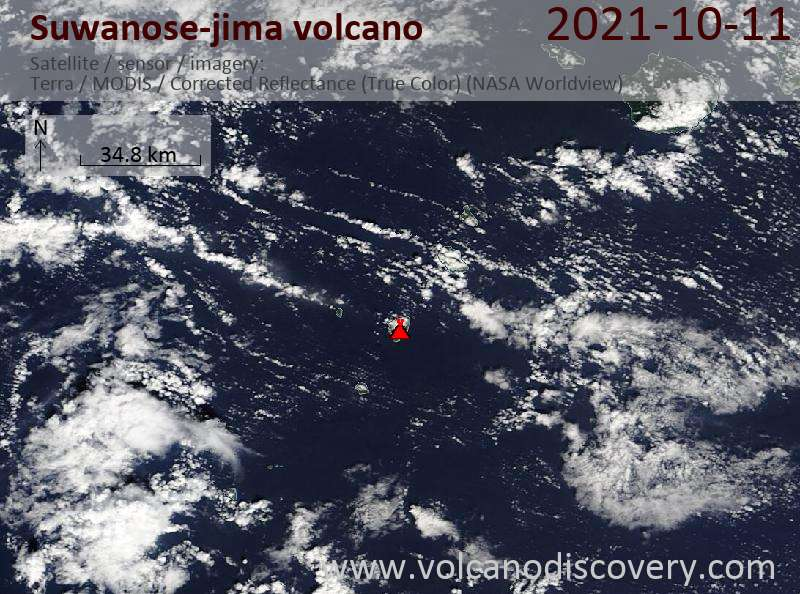 Satellite image of Suwanose-jima volcano on 12 Oct 2021