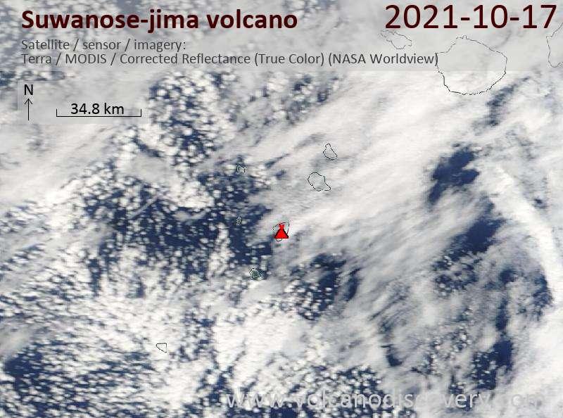 Спутниковое изображение вулкана Suwanose-jima 17 Oct 2021
