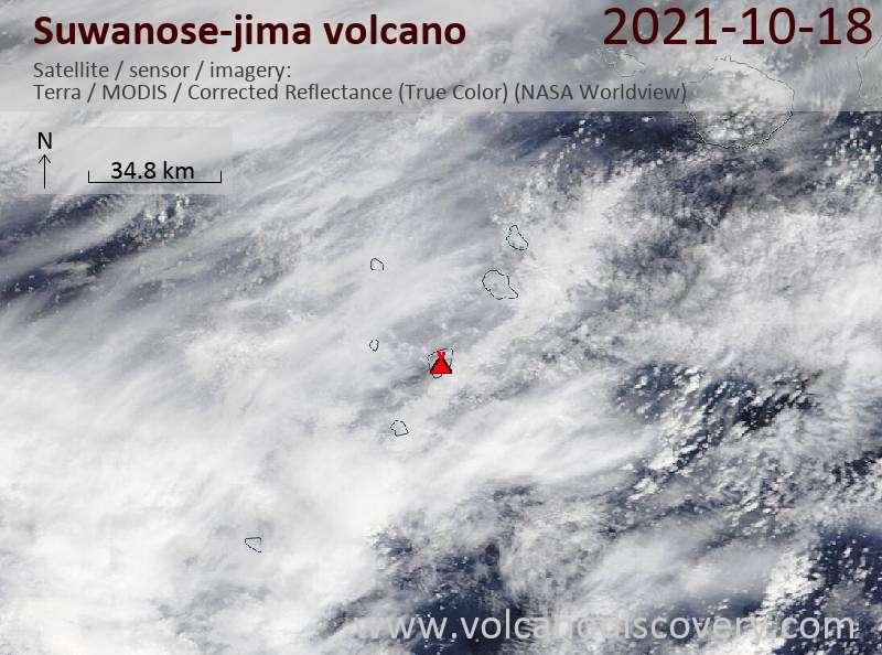 Satellitenbild des Suwanose-jima Vulkans am 19 Oct 2021