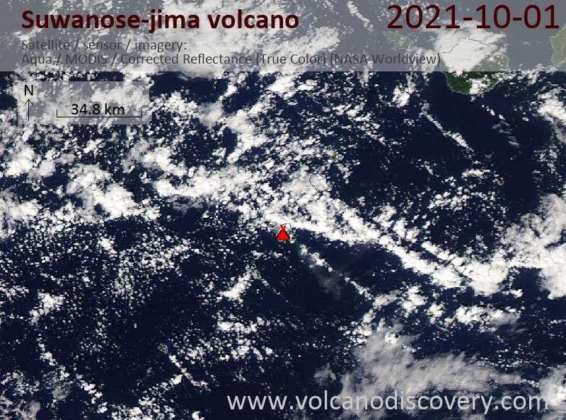 Satellite image of Suwanose-jima volcano on  2 Oct 2021