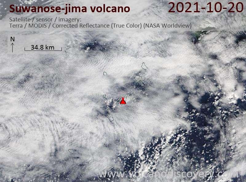 Спутниковое изображение вулкана Suwanose-jima 20 Oct 2021