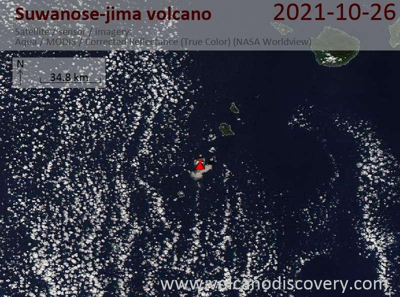 Спутниковое изображение вулкана Suwanose-jima 26 Oct 2021