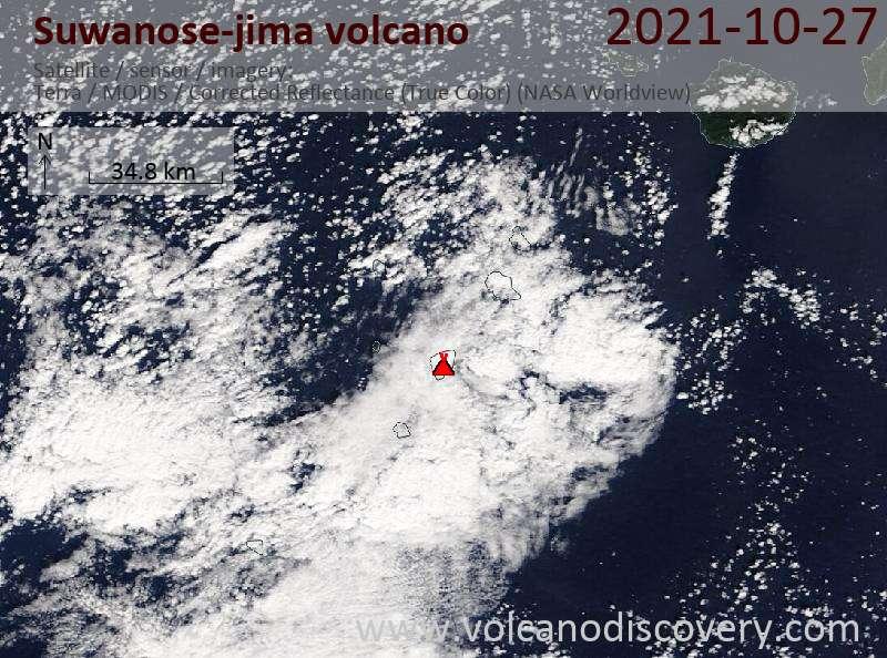 Satellitenbild des Suwanose-jima Vulkans am 27 Oct 2021