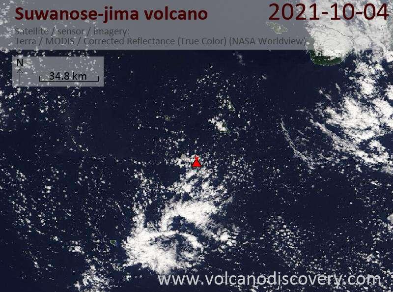 Satellite image of Suwanose-jima volcano on  5 Oct 2021