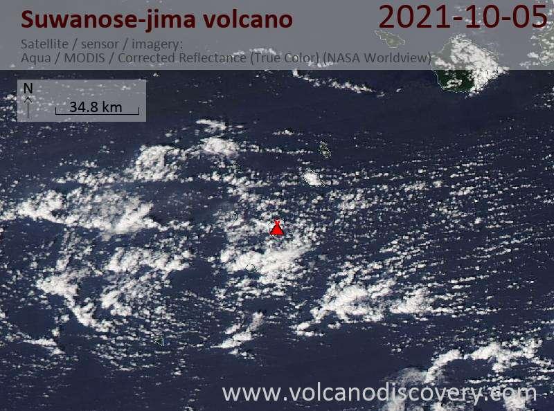 Satellite image of Suwanose-jima volcano on  6 Oct 2021