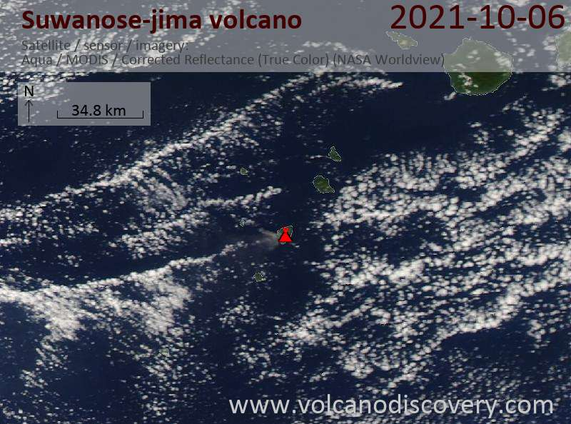 Satellite image of Suwanose-jima volcano on  7 Oct 2021