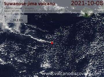 Satellite image of Suwanose-jima volcano on October 8, 2021
