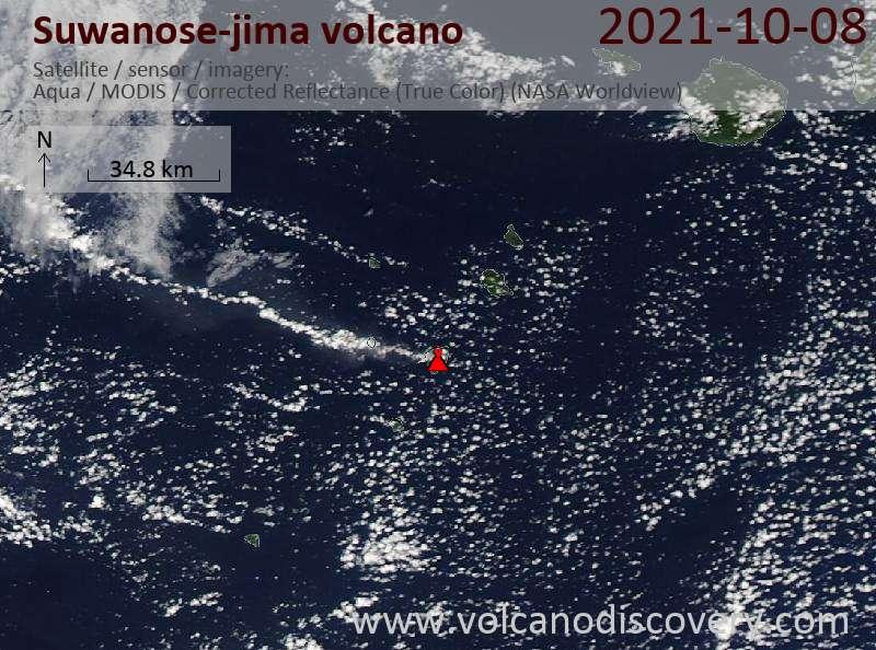 Satellite image of Suwanose-jima volcano on  9 Oct 2021