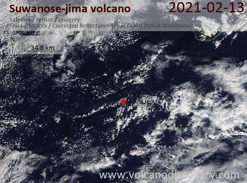 Satellite image of Suwanose-jima volcano on 13 Feb 2021