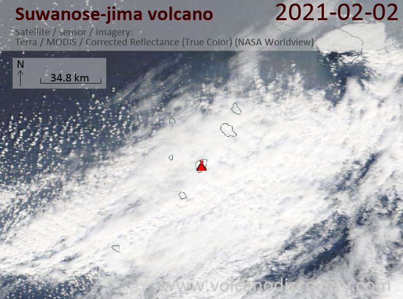 Satellite image of Suwanose-jima volcano on  2 Feb 2021