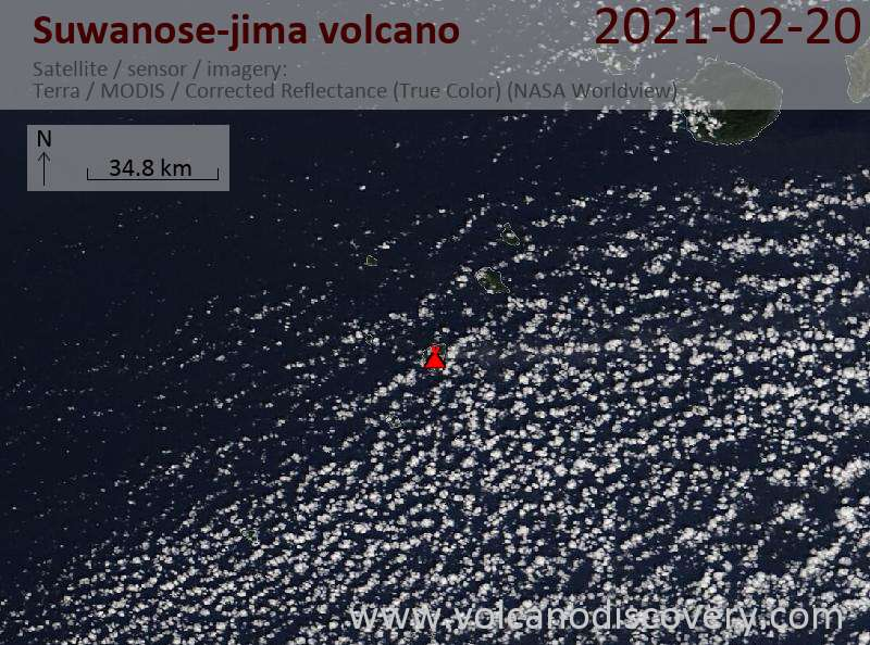 Satellite image of Suwanose-jima volcano on 20 Feb 2021