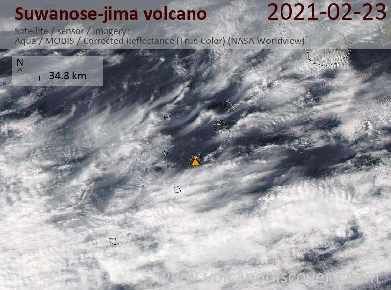 Satellite image of Suwanose-jima volcano on 23 Feb 2021