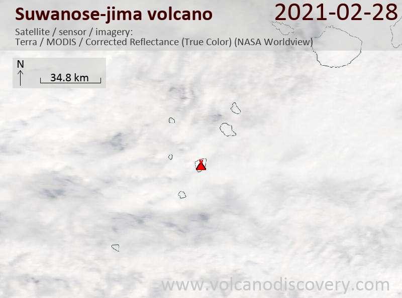 Satellitenbild des Suwanose-jima Vulkans am 28 Feb 2021