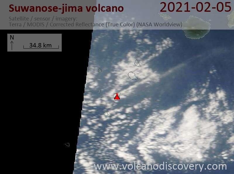 Satellitenbild des Suwanose-jima Vulkans am  5 Feb 2021