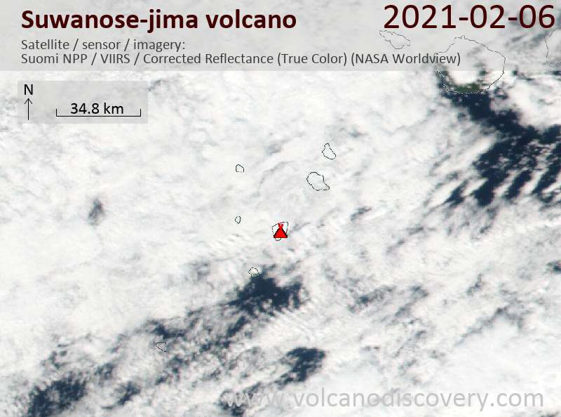 Satellitenbild des Suwanose-jima Vulkans am  7 Feb 2021