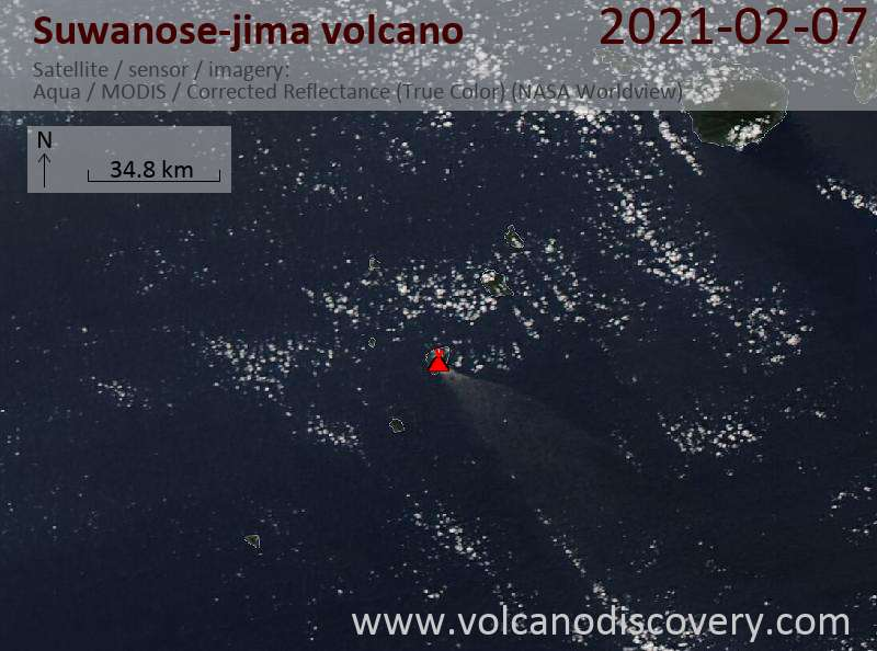 Satellitenbild des Suwanose-jima Vulkans am  8 Feb 2021