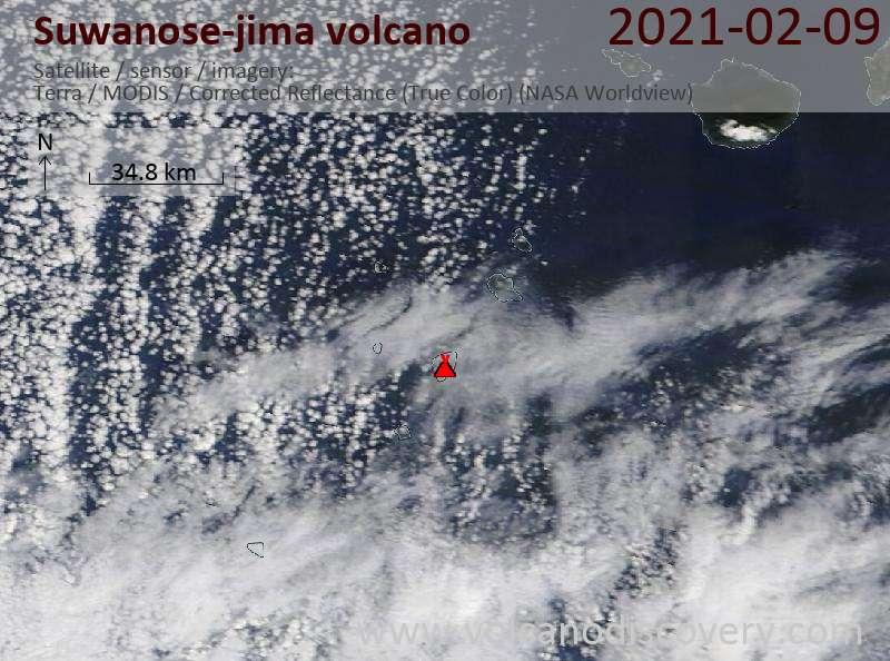 Satellite image of Suwanose-jima volcano on  9 Feb 2021