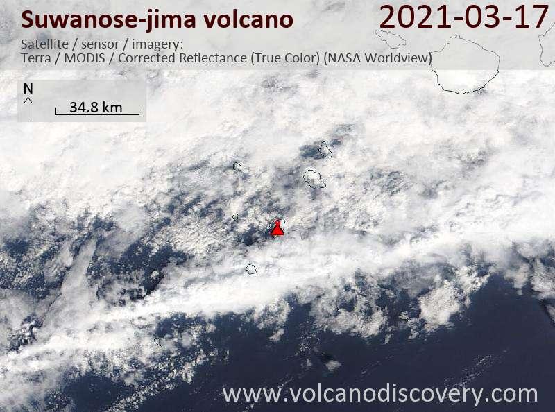 Satellite image of Suwanose-jima volcano on 17 Mar 2021