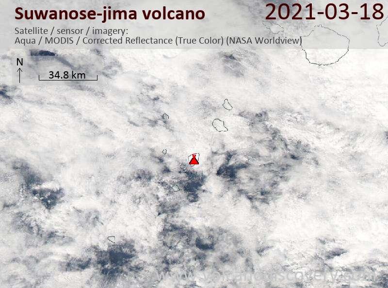 Satellite image of Suwanose-jima volcano on 18 Mar 2021