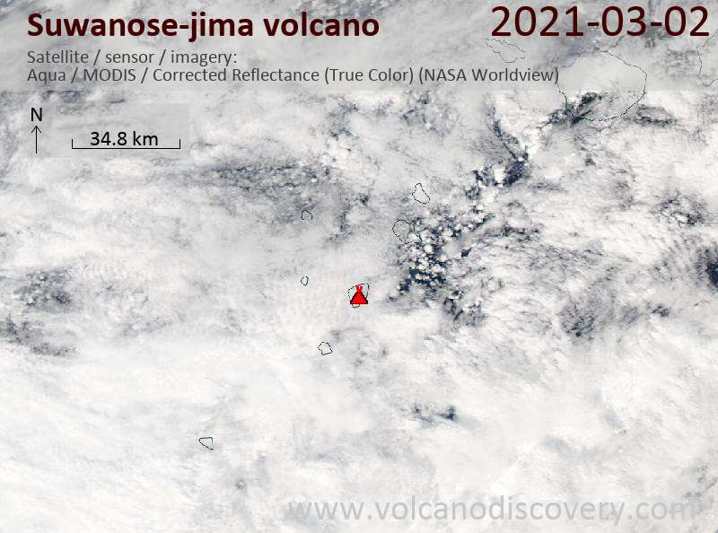 Satellitenbild des Suwanose-jima Vulkans am  2 Mar 2021