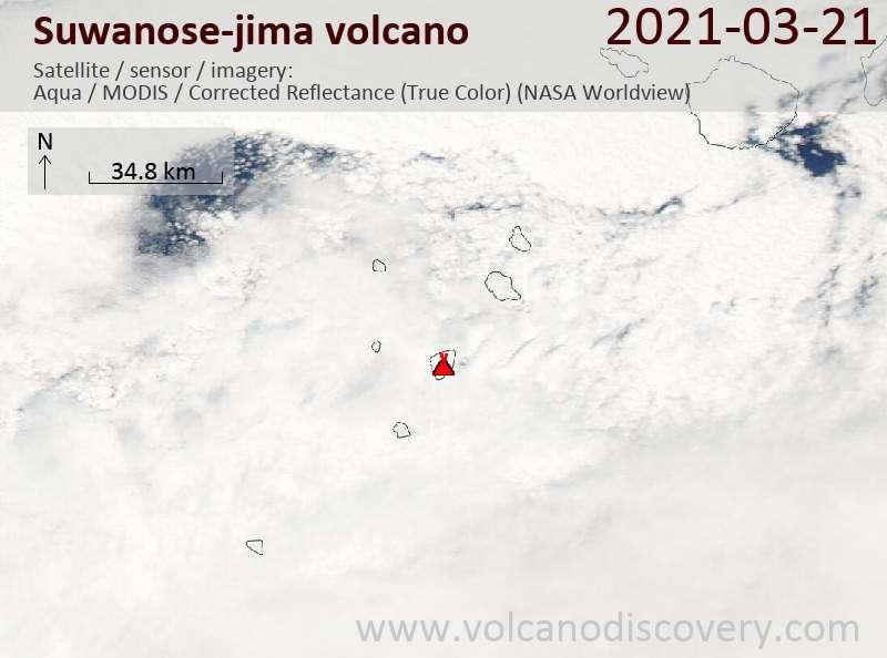 Satellite image of Suwanose-jima volcano on 21 Mar 2021