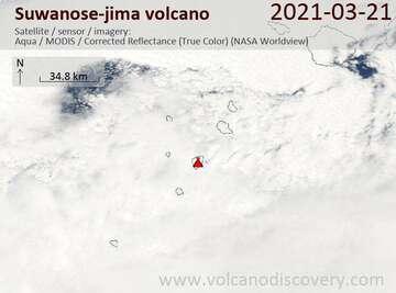 Imagen satelital del volcán Suwanose-jima el 21 de marzo de 2021
