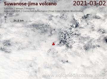 Satellite image of Suwanose-jima volcano on  2 Mar 2021