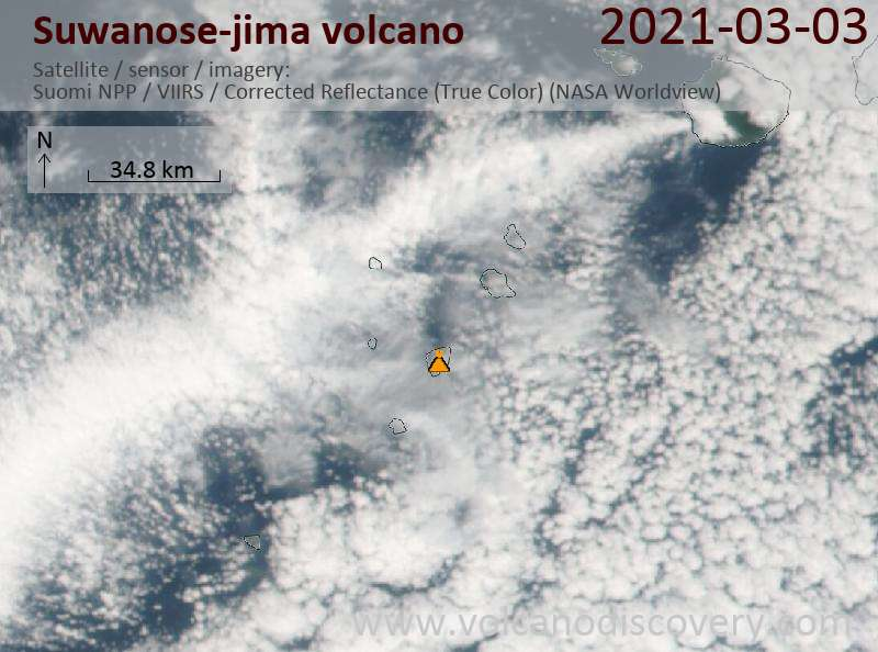 Satellitenbild des Suwanose-jima Vulkans am  3 Mar 2021