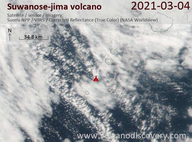 Satellite image of Suwanose-jima volcano on  4 Mar 2021
