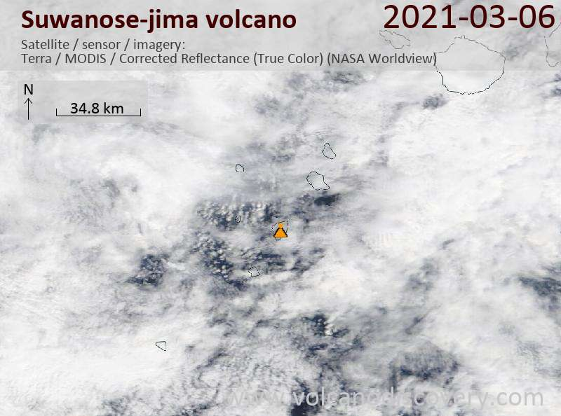 Satellite image of Suwanose-jima volcano on  6 Mar 2021
