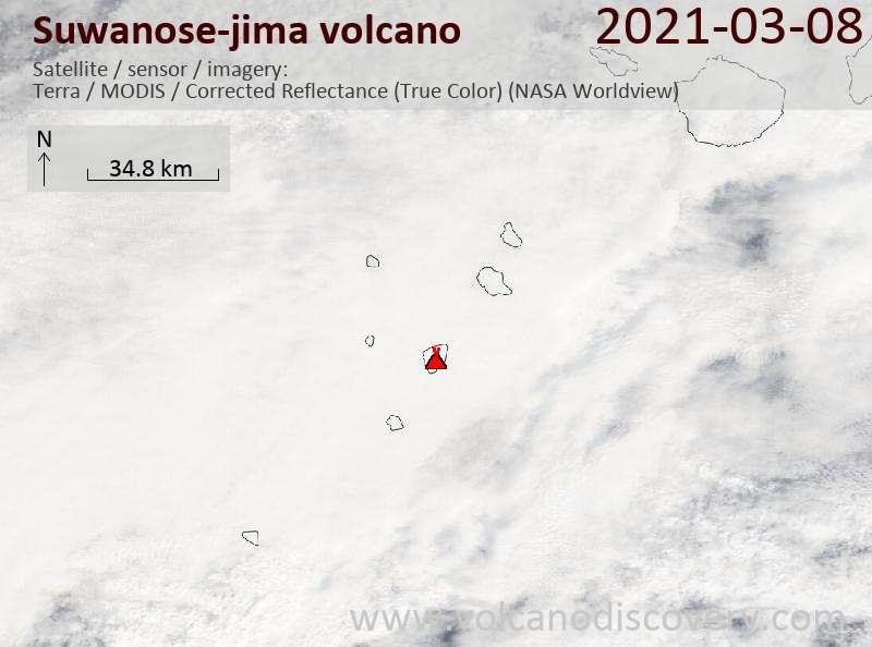 Satellite image of Suwanose-jima volcano on  8 Mar 2021