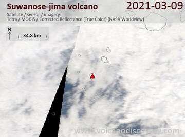 Satellite image of Suwanose-jima volcano on  9 Mar 2021