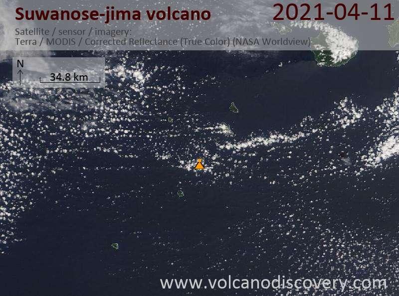 Satellite image of Suwanose-jima volcano on 11 Apr 2021