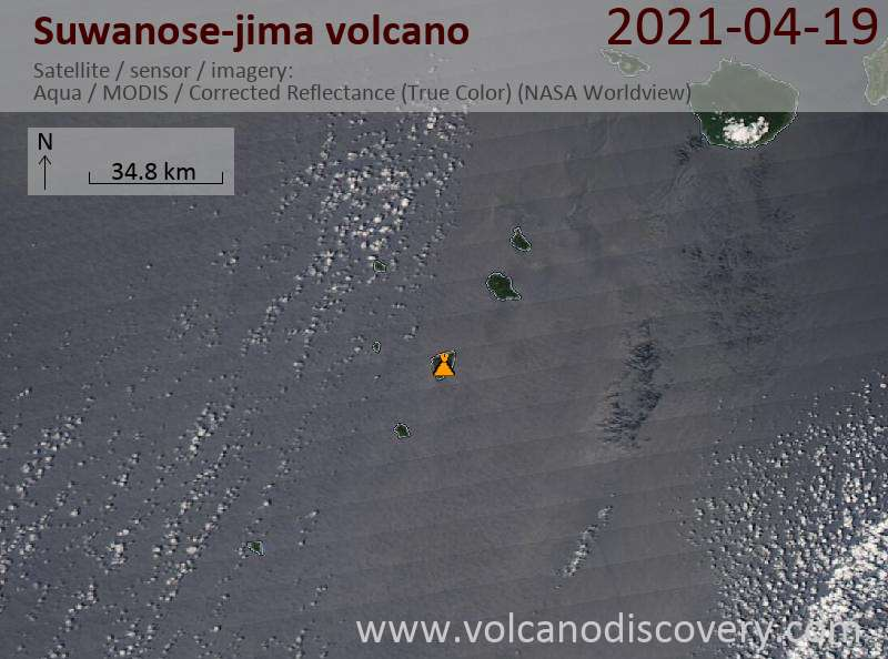Satellite image of Suwanose-jima volcano on 20 Apr 2021
