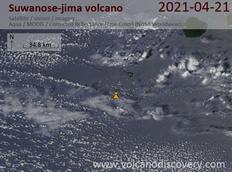 Satellite image of Suwanose-jima volcano on 21 Apr 2021